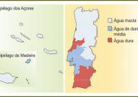 mapa da dureza da gua em Portugal